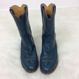 Justin Blue Leather Cowboy Boots Style L3050 6.5C